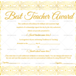 Best Teacher Award Certificate (Elegant, #1237) In New Best Teacher Certificate Templates