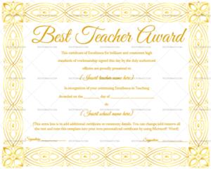 Best Teacher Award Certificate (Elegant, #1237) in New Best Teacher Certificate Templates