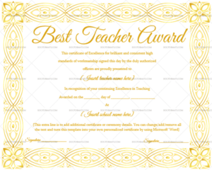 Best Teacher Award Certificate (Elegant, #1237) throughout New Best Teacher Certificate