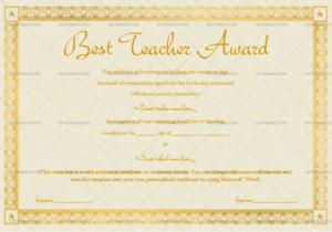 Best Teacher Award Certificate (Stars, #1240) inside New Best Teacher Certificate