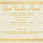 Best Teacher Award Certificate (Stars, #1240) With Regard To New Best Teacher Certificate Templates