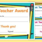 Best Teacher Award Certificate (Teacher Made) Pertaining To New Best Teacher Certificate