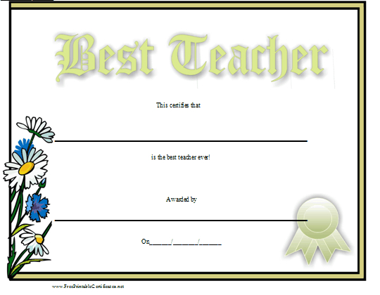 Best Teacher Certificate Printable Certificate pertaining to Best Teacher Certificate Templates Free