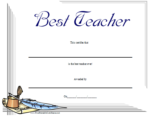 Best Teacher Certificate Printable Certificate | Teacher regarding Best Teacher Certificate Templates