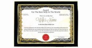 Best Wife Award Certificate Fresh Personalized Award for Fresh Best Wife Certificate Template