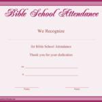 Bible School Attendance Certificate Printable Certificate Throughout Unique Vbs Attendance Certificate Template