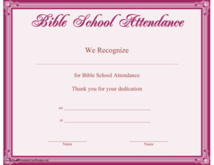Bible School Attendance Certificate Printable Certificate throughout Unique Vbs Attendance Certificate Template