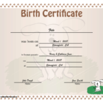 Birth Certificate For Puppies Printable Certificate Inside Unique Puppy Birth Certificate Template