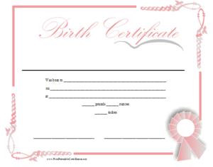 Birth Certificate Printable Certificate | Birth Certificate intended for Girl Birth Certificate Template