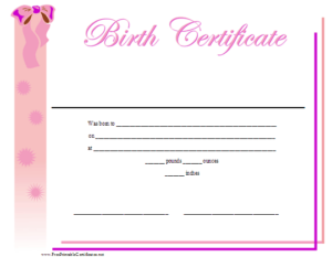 Birth Certificate Printable Certificate | Birth Certificate with regard to Fresh Girl Birth Certificate Template