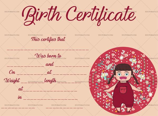 Birth Certificate Template (Baby Girl, #4364) in Fresh Girl Birth Certificate Template