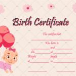Birth Certificate Template (Balloons) – Gct Pertaining To Cute Birth Certificate Template