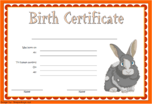 Birth Certificate Template For Rabbit Free 3 In 2020 | Birth throughout Rabbit Birth Certificate Template Free 2019 Designs