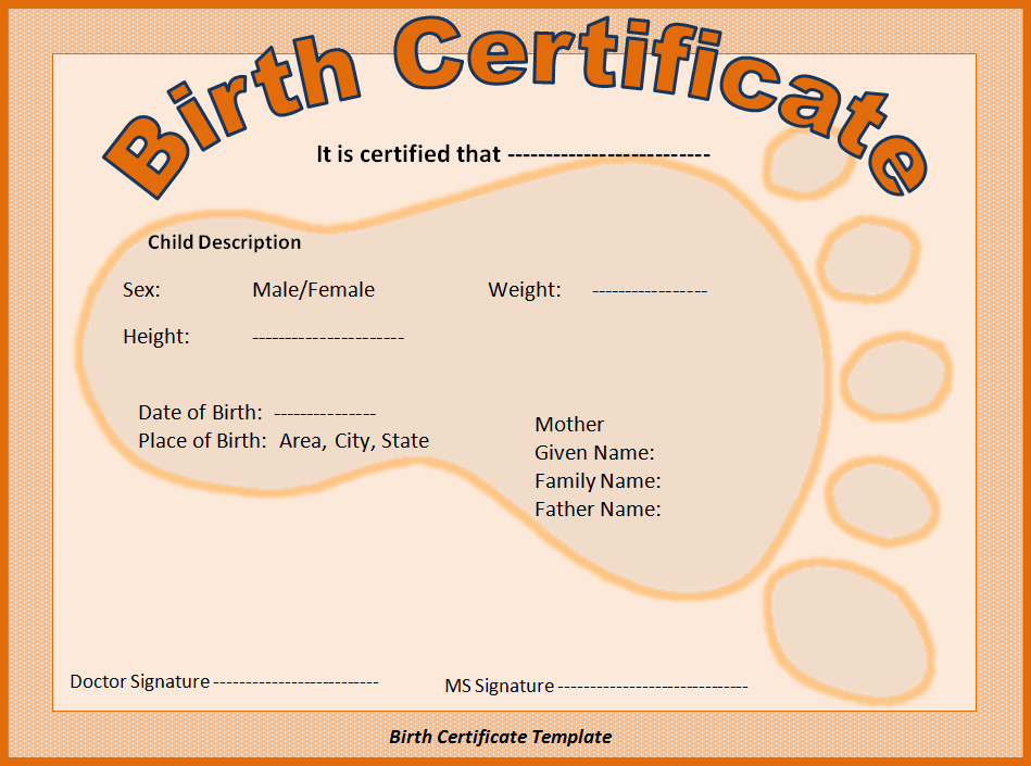 Birth Certificate Template | Free Printable Ms Word inside Best Birth Certificate Templates For Word