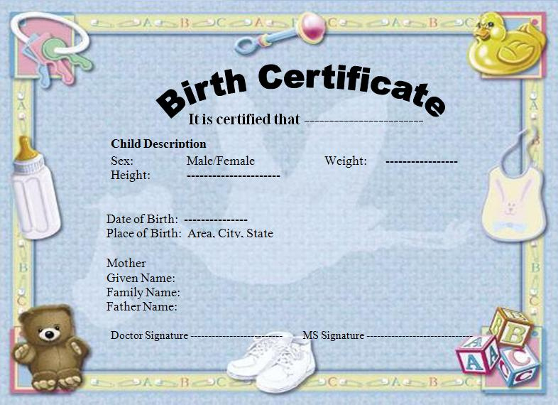 Birth Certificate Template | Graphics And Templates inside Unique Cute Birth Certificate Template
