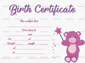 Birth Certificate Template (Magic Bear, #4365) within Fresh Girl Birth Certificate Template