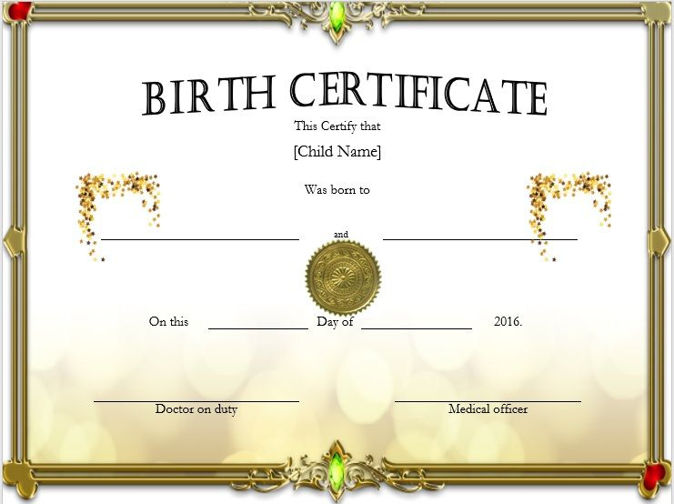 Birth Certificate Templates - Microsoft Word Templates with regard to Birth Certificate Template For Microsoft Word