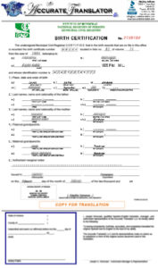 Birth Certificate Translation Of Public Legal Documents inside Birth Certificate Translation Template Uscis