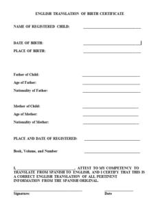 Birth Certificate Translation Template (3) – Templates regarding Birth Certificate Translation Template English To Spanish