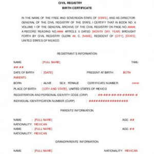 Birth Certificate Translation Template [En5Kxgy5Qpno] pertaining to Fresh Mexican Birth Certificate Translation Template