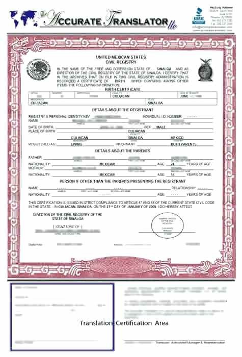 Birth Certificate Translation Template English To Spanish intended for Fresh Mexican Birth Certificate Translation Template