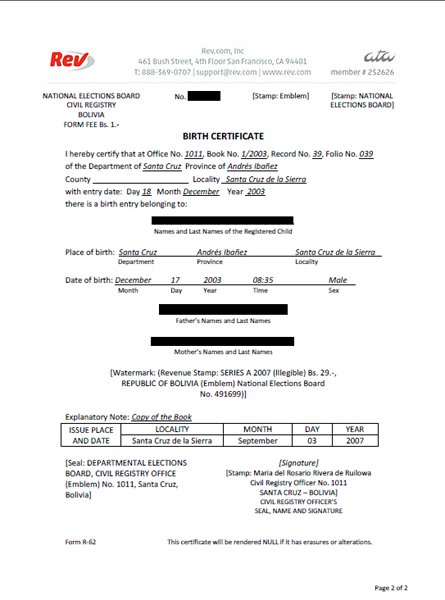 Birth Certificate Translation Template Uscis (1) - Templates regarding New Birth Certificate Translation Template Uscis