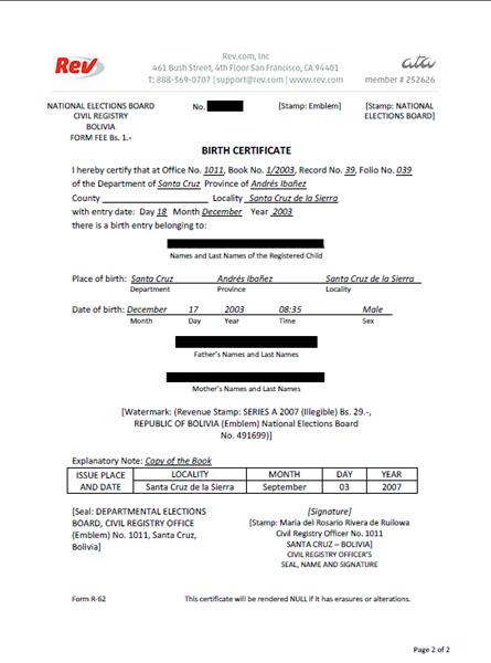 Birth Certificate Translation Template Uscis (1) - Templates regarding Unique Uscis Birth Certificate Translation Template
