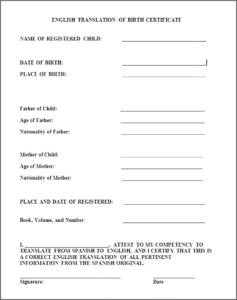 Birth Certificate Translation Template Uscis (2) – Templates regarding Unique Uscis Birth Certificate Translation Template