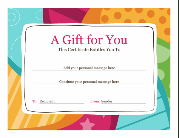 Birthday Gift Certificate (Bright Design) for Movie Gift Certificate Template