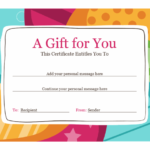 Birthday Gift Certificate (Bright Design) In Quality Kids Gift Certificate Template