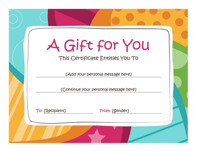 Birthday Gift Certificate (Bright Design) - Templates | Free in Birthday Gift Certificate