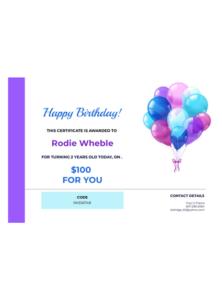 Birthday Gift Certificate Template – Pdf Templates   Jotform for Unique Happy Birthday Gift Certificate