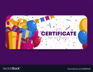 Birthday Gift Certificate Template Royalty Free Vector Image regarding Birthday Gift Certificate