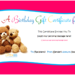 Birthday Gift Certificate Templates (For Girls And Boys With Regard To Quality Kids Gift Certificate Template