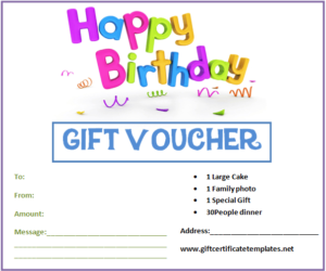 Birthday Gift Certificate Templates   Gift Certificate regarding Happy Birthday Gift Certificate