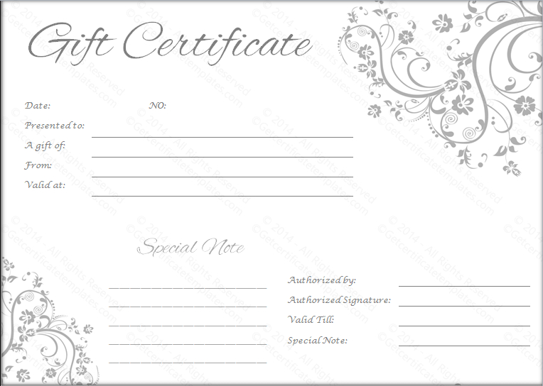 Black And White Gift Certificate Template Free (3 pertaining to Free Editable Wedding Gift Certificate Template