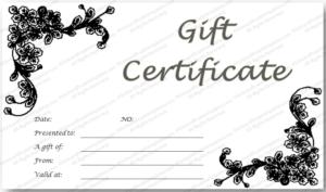 Black Flowery Gift Certificate Template In 2020 | Gift with Black And White Gift Certificate Template Free