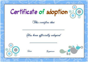 Blank Adoption Certificate | Adoption Certificate inside Blank Adoption Certificate Template