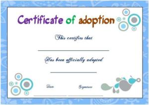 Blank Adoption Certificate Template (9) | Professional Throughout Fresh Cat Adoption Certificate Template 9 Designs
