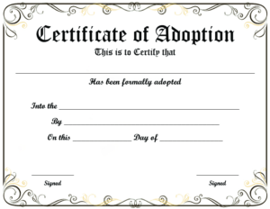 Blank Adoption Certificate Template (9) – Templates Example For Rabbit Adoption Certificate Template 6 Ideas Free