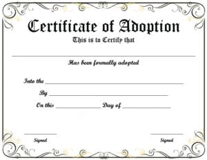 Blank Adoption Certificate Template (9) - Templates Example inside Blank Adoption Certificate Template