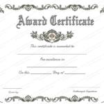Blank Award Certificate Templates Word   Certificate Of For Blank Award Certificate Templates Word