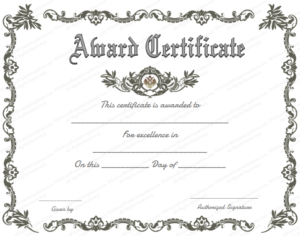 Blank Award Certificate Templates Word | Certificate Of for Blank Award Certificate Templates Word