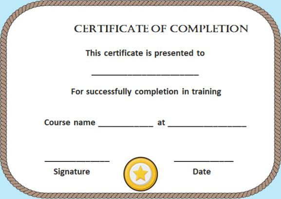 Blank Certificate Of Completion Template Free | Blank with regard to Free Completion Certificate Templates For Word