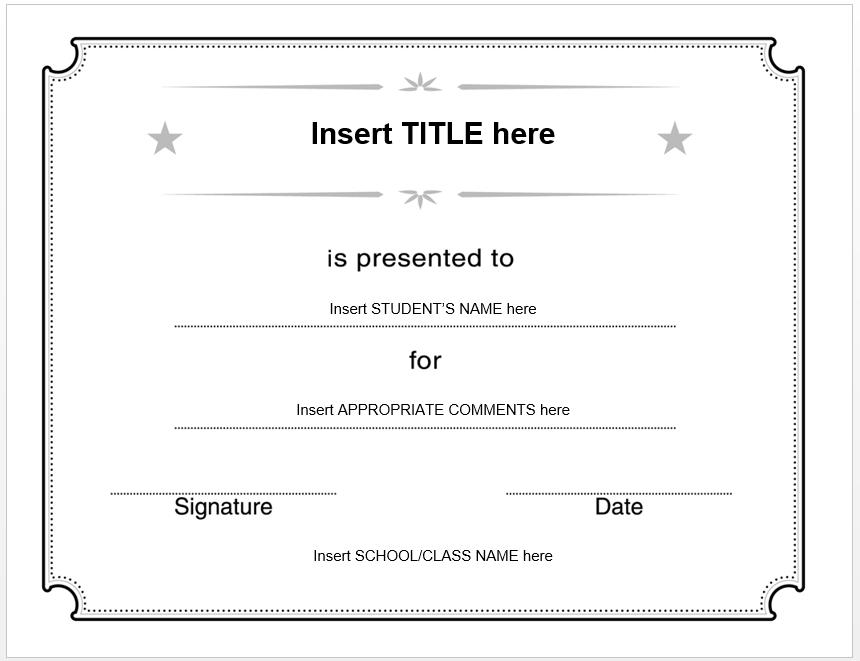 Blank Certificate Template   Free Certificate Templates with Generic Certificate Template