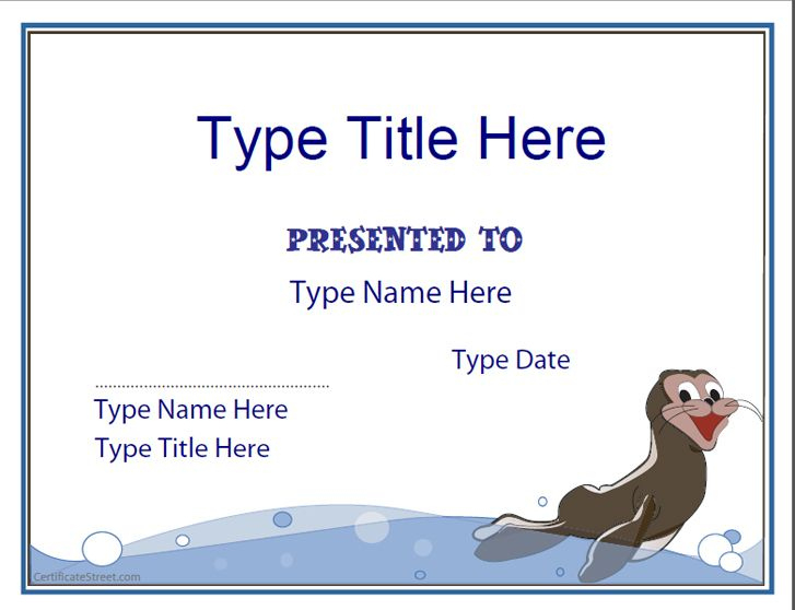 Blank Certificates - Swimming Certificate Template within Editable Swimming Certificate Template Free Ideas
