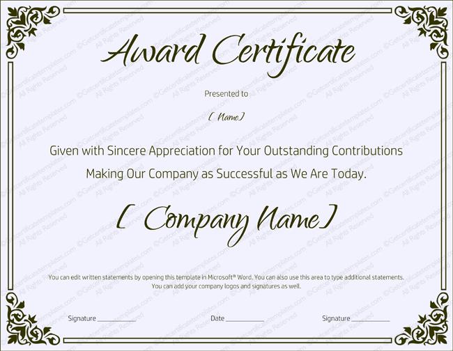 Blank Retirement Certificate Template - Editable And Printable for Blank Award Certificate Templates Word