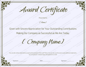 Blank Retirement Certificate Template – Editable And Printable with Quality Microsoft Word Award Certificate Template