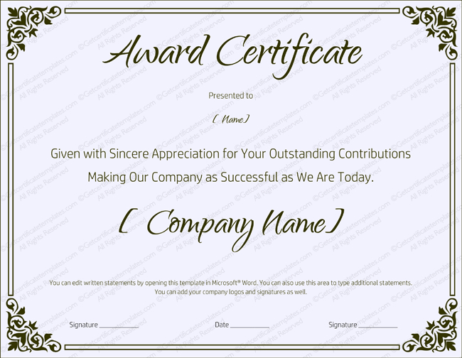 Blank Retirement Certificate Template - Editable And Printable within Retirement Certificate Templates