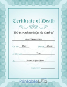 Blank Vertical Death Certificate Sample In Onahau, Sinbad within New Fake Death Certificate Template